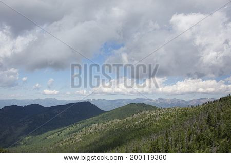 Green Hills Altai Mountains Landscape. Cloudy Sky