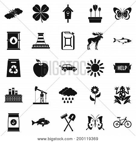 Natural resources icons set. Simple set of 25 natural resources vector icons for web isolated on white background