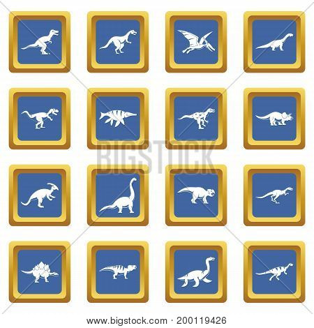Dinosaur icons set in blue color isolated vector illustration for web and any design