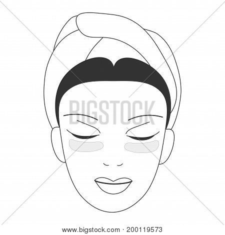 Vector icon illustration for cosmetic face skin care in line art style: woman face with gel eye patches masks on. Eye patches could be gel, sheet, moisturizing, hydrogel,antiage or skincare.