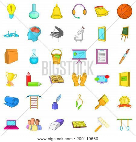 Education in school icons set. Cartoon style of 36 education in school vector icons for web isolated on white background