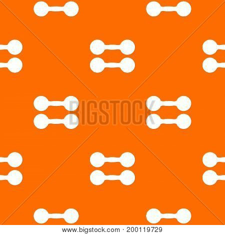 Pair of dumbbells pattern repeat seamless in orange color for any design. Vector geometric illustration