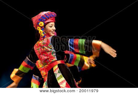chinese Qiang ethnic dancer