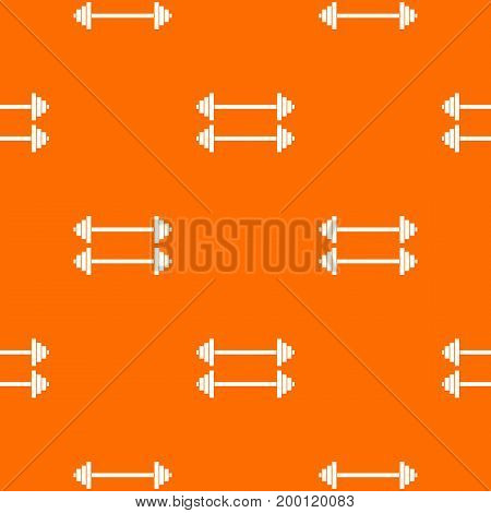 Two barbells pattern repeat seamless in orange color for any design. Vector geometric illustration