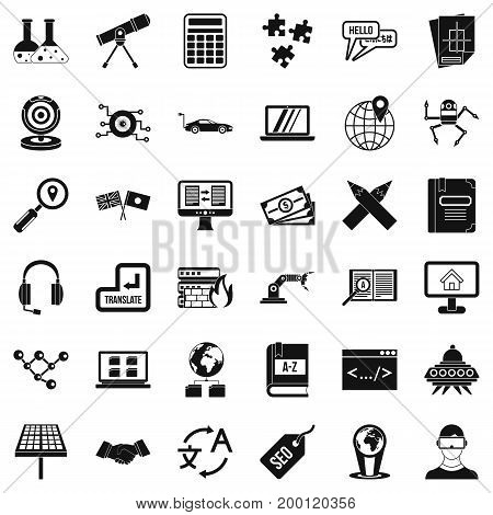 Online education icons set. Simple style of 36 online education vector icons for web isolated on white background