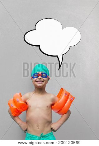 Digital composite of Boy with speech bubble ready to swim against grey background