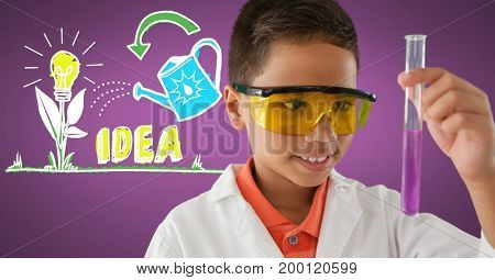 Digital composite of Boy scientist with test tube and colorful idea graphics