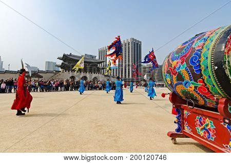 Seoul, South Korea - April 07, 2017: The Royal Guard-changing Ceremony Gyeongbokgung Palace. The Roy