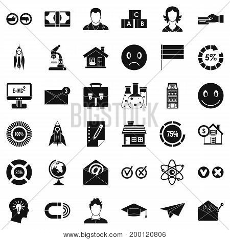 Online learning icons set. Simple style of 36 online learning vector icons for web isolated on white background
