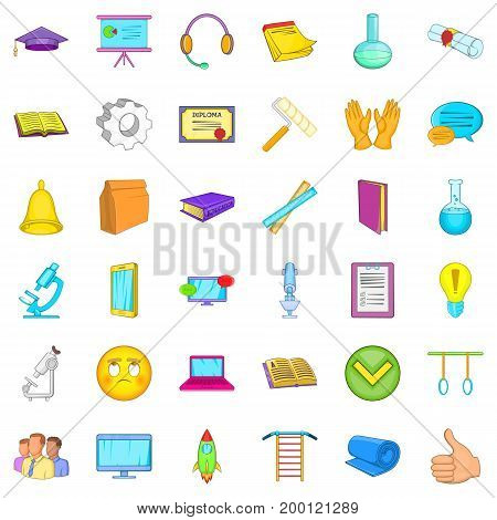 Online learning icons set. Cartoon style of 36 online learning vector icons for web isolated on white background
