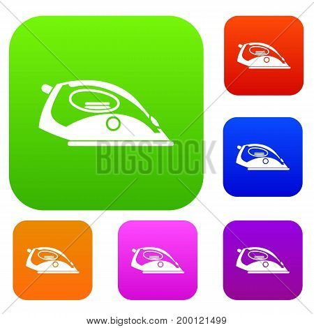 Iron set icon in different colors isolated vector illustration. Premium collection