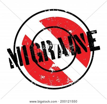 Migraine rubber stamp. Grunge design with dust scratches. Effects can be easily removed for a clean, crisp look. Color is easily changed.