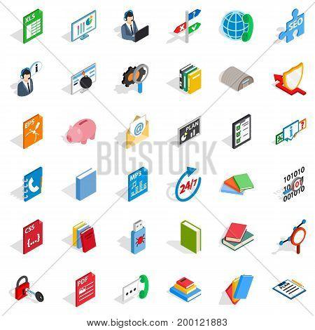 Online learning icons set. Isometric style of 36 online learning vector icons for web isolated on white background