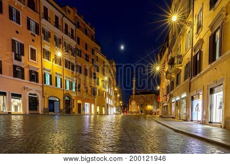Square of Spain and Via del Babuino in the early morning. Rome. Italy.