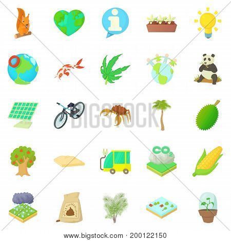 Bionomics icons set. Cartoon set of 25 bionomics vector icons for web isolated on white background