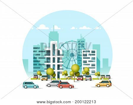 Vector illustration of cars parking along the street. Traffic in downtown. City skyscrapers building skyline on blue background. Flat style.