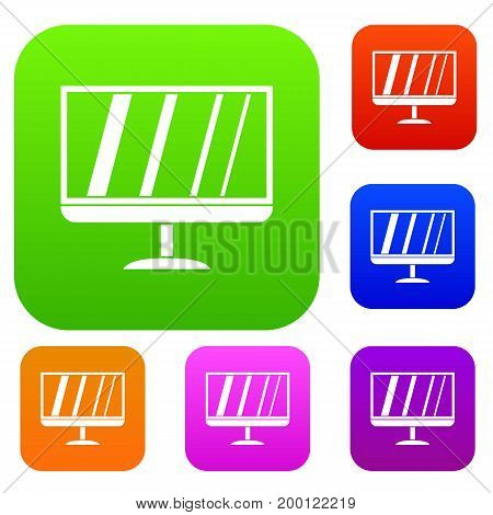 TV set icon in different colors isolated vector illustration. Premium collection