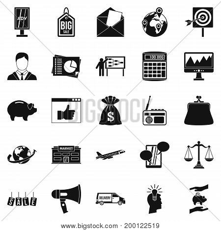 Commercials icons set. Simple set of 25 commercials vector icons for web isolated on white background