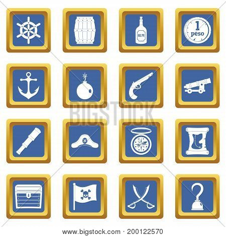 Pirate icons set in blue color isolated vector illustration for web and any design