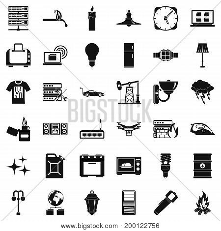 Strong electricity icons set. Simple style of 36 strong electricity vector icons for web isolated on white background