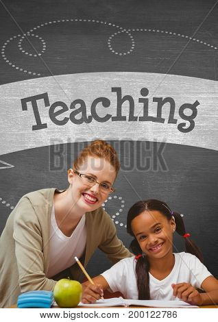 Digital composite of Happy student girl and teacher at table against grey blackboard with teaching text and education and