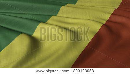3D illustration of Mali Flag fluttering in light wind.