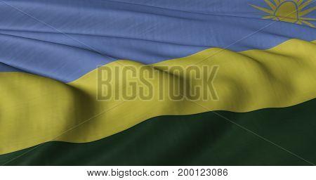 3D illustration of Rwanda flag fluttering in light wind.
