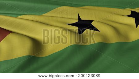 3D illustration of Sao Tome Principe flag fluttering in light wind.