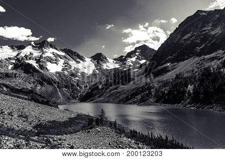 Beautiful Black And White Landscape And High Snowy Mountains