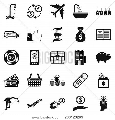 Treasury icons set. Simple set of 25 treasury vector icons for web isolated on white background