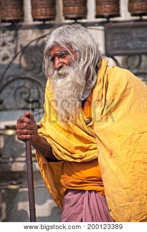 Kathmandu, Nepal - March 9, 2013: Sadhu In Swayambhunath Temple. A Sadhu Is A Religious Ascetic, Men