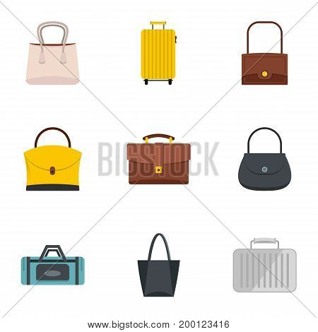 Bags and suitcases icon set. Flat style set of 9 bags and suitcases vector icons for web isolated on white background