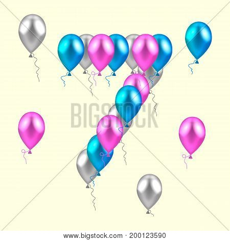 vector illustration. realistic colored balloons on the seventh birthday. pink, silver, blue