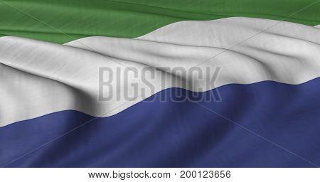 3D Illustration of Sierra Leone flag fluttering in light wind.