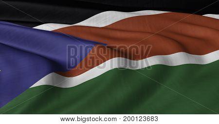 3D illustration of South Sudan flag fluttering in light wind.