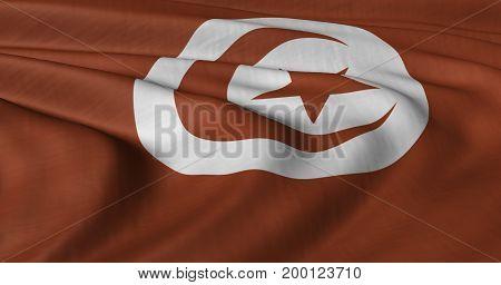 3D Illustration of Tunisian flag fluttering in strong wind.