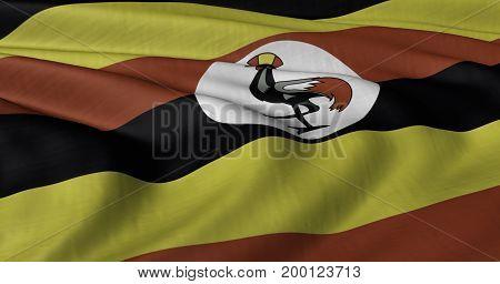 3D Illustration of Ugandan flag fluttering in light wind.
