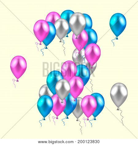 vector illustration. realistic colored balloons on the second birthday. pink, silver, blue