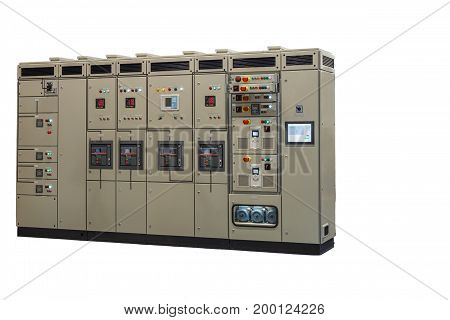 the modern complex operational control of large electric systems closeup isolated on white background