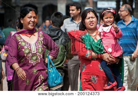 Katmandu, Nepal - March 9, 2013: People At Katmandu Valley, Nepal.