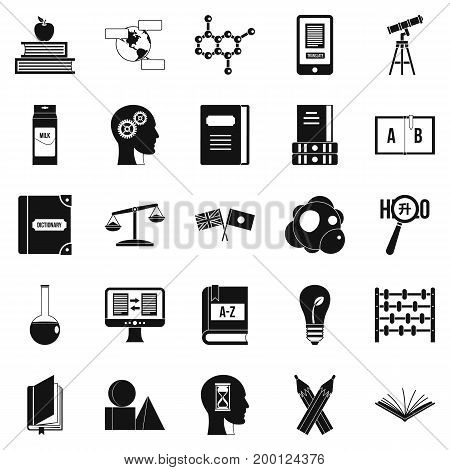 Answers on questions icons set. Simple set of 25 answers on questions vector icons for web isolated on white background