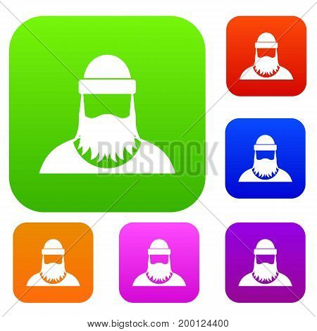 Lumberjack set icon in different colors isolated vector illustration. Premium collection