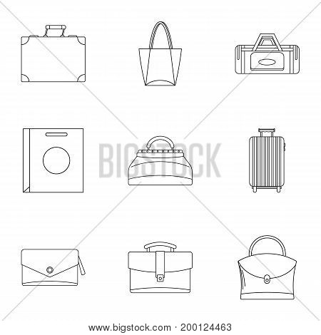 Bag types icon set. Outline style set of 9 bag types vector icons for web isolated on white background