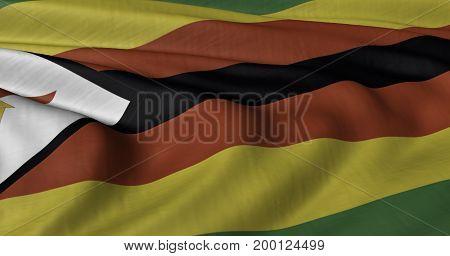 3D Illustration of Zimbabwe flag fluttering in light wind.