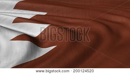 3D Illustration of Bahrain flag fluttering in strong wind. Category Asia stock graphics.