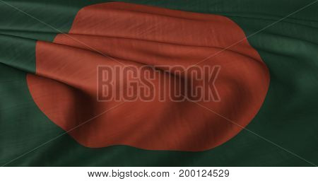 3D Illustration of Bangladesh flag fluttering in strong wind. Category Asia stock graphics.
