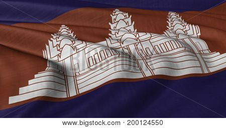 3D Illustration of Cambodian flag fluttering in strong wind. Category Asia stock graphics.
