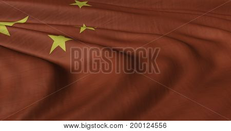 3D Illustration of Chinese flag fluttering in strong wind. Category Asia stock graphics.