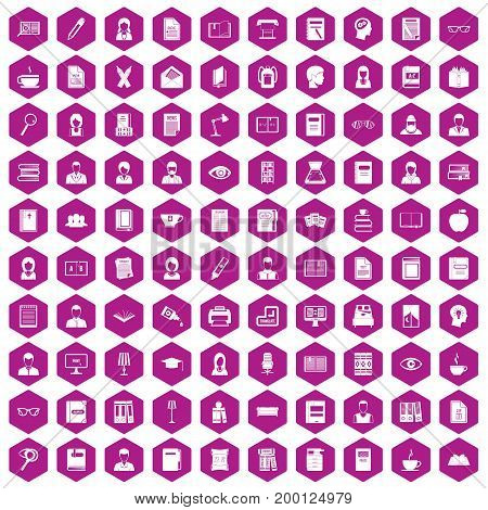 100 reader icons set in violet hexagon isolated vector illustration