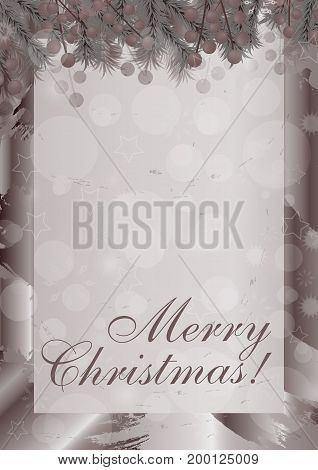 Merry Christmas vertical background with berries. Vector illustration.